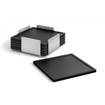 Zack Olai Silicone Coaster Set with Brushed Stainless Steel Stand 20357