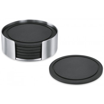 Zack Vetro Silicone Coaster Set with Brushed Stainless Steel Stand 20384