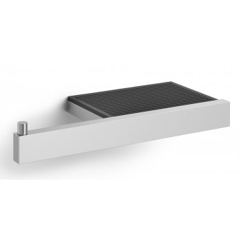 Zack Linea Brushed Stainless Steel Toilet Roll Holder with Shelf 40376