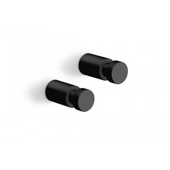 Zack Aivo 1.6 cm Powder Coated Black Stainless Steel Towel Hook Set/2 40444