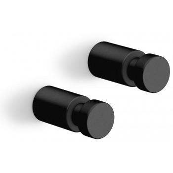 Zack Aivo 1.6cm Powder Coated Black Stainless Steel Towel Hook Set/2 40444