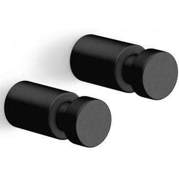 Zack Aivo 1.9 cm Powder Coated Black Stainless Steel Towel Hook Set/2 40445