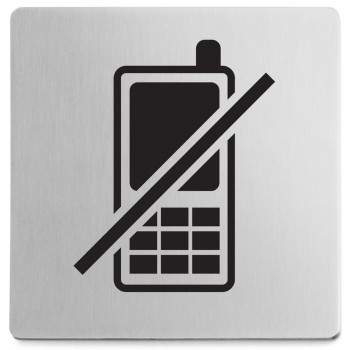 Zack Indici Brushed Stainless Steel Information Sign - No Mobile Phones 50717