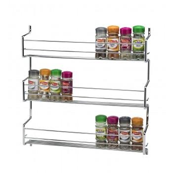 Metro 3 Tier Wall/Cupboard Spice Rack - Chrome