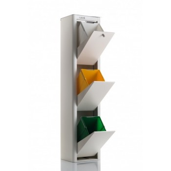 Cubek Ivory White Recycle Bin - 3 Bin