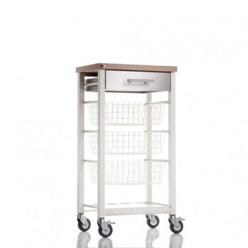 Onda Beech Kitchen Trolley - Ivory White