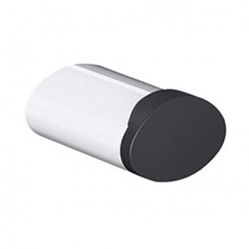 Pellet Arsis Single Elliptical Robe or Towel Hook - White Epoxy-coated Aluminium