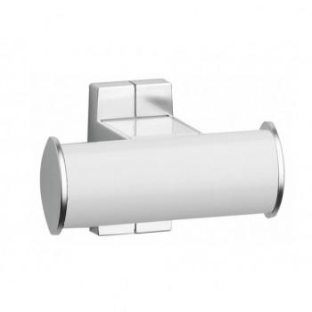 Pellet Arsis Double Elliptical Robe or Towel Hook - White epoxy-coated Aluminium