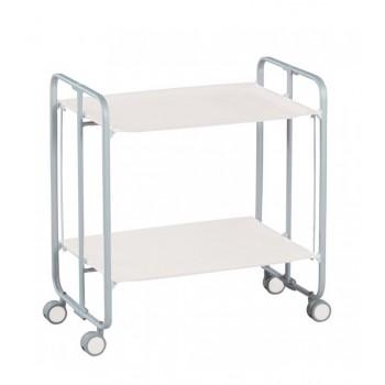 Gala White Folding 2 Tier Kitchen Trolley - Grey Frame