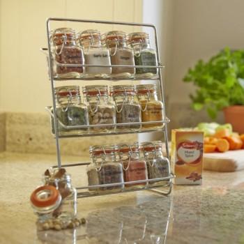 Pisa 12 Kilner Jar Spice Rack - Chrome