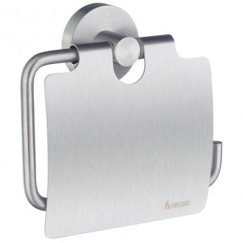 Home Toilet Roll Holder With Lid HS3414 - Brushed Chrome