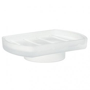 Frosted Glass Soap Dish - White L348