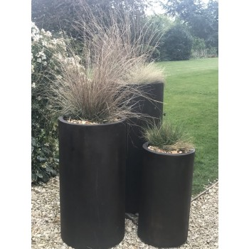 Satu Bumi Set of 3 Tall Cylinder Planters - Iron Ore