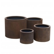 Satu Bumi Set of 4 Wide Cylinder Planters - Neo Coffee