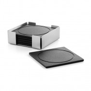 Plaza Coaster Set With Stand 20359 - Brushed Finish