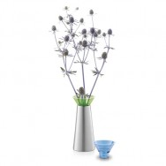 Zack Taris Brushed Stainless Steel with Green/Blue Vase or Candle Holder 40677BG