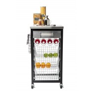 Ashwell Black Kitchen Trolley with Stainless Steel Top 55603