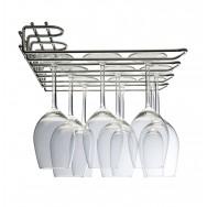 Metro 3 Row Wall/UnderCupboard Glass Stem Rack - Chrome