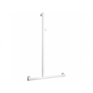 Pellet Arsis L or T-Shaped Elliptical Shower Bar - White Epoxy-coated Aluminium