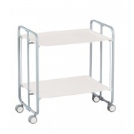 Gala White Folding 2 Tier Kitchen Trolley - Grey Frame
