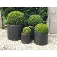Satu Bumi Set of 4 Wide Cylinder Planters - Iron Ore
