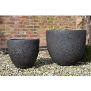 Satu Bumi Set of 2 Apollo Round Planters - Iron Ore