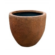 Satu Bumi Set of 2 Apollo Round Planters - Rust Wet