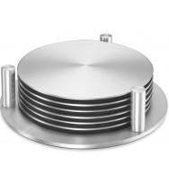 Zack Regio Brushed Stainless Steel Coaster Set With Stand 20374