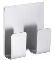 Zack Appeso Brushed Stainless Steel Self Adhesive Double Towel Hook 40135