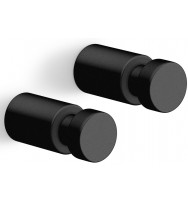 Zack Aivo 1.9 cm Powder Coated Black Stainless Steel Towel Hook Set/2 40445
