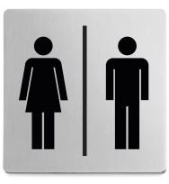 Zack Indici Brushed Stainless Steel Information Sign - Man + Woman/Unisex 50712
