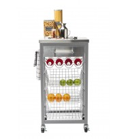 Ashwell Grey Kitchen Trolley with Stainless Steel Top 55602