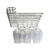 Metro 6 Row Wall/UnderCupboard Glass Stem Rack - Chrome