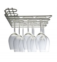 Metro 3 Row Wall/UnderCupboard Glass Stem Rack - Chrome