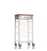 Onda Beech Kitchen Trolley - Ivory White