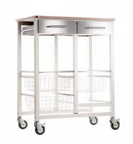 Onda Beech Double Kitchen Trolley - Ivory White