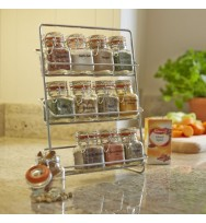 Pisa 12 Kilner Jar Spice Rack - Chrome