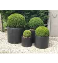 Satu Bumi Set of 4 Wide Cylinder Planters - Iron Ore
