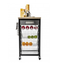 Sandon Black Kitchen Trolley with Wooden Top 55503
