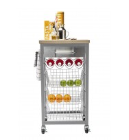 Sandon Grey Kitchen Trolley with Wooden Top 55502