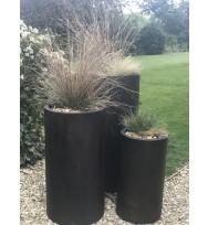 Satu Bumi Set of 3 Tall Cylinder Planters - Iron Ore
