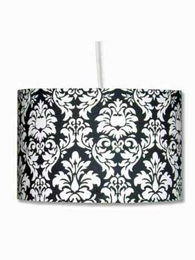 Black & White Brocade Pendant Lampshade from Hunkydoryhome